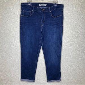 LEVIS Mid Rise Skinny Dark Wash Cuffed Size 14